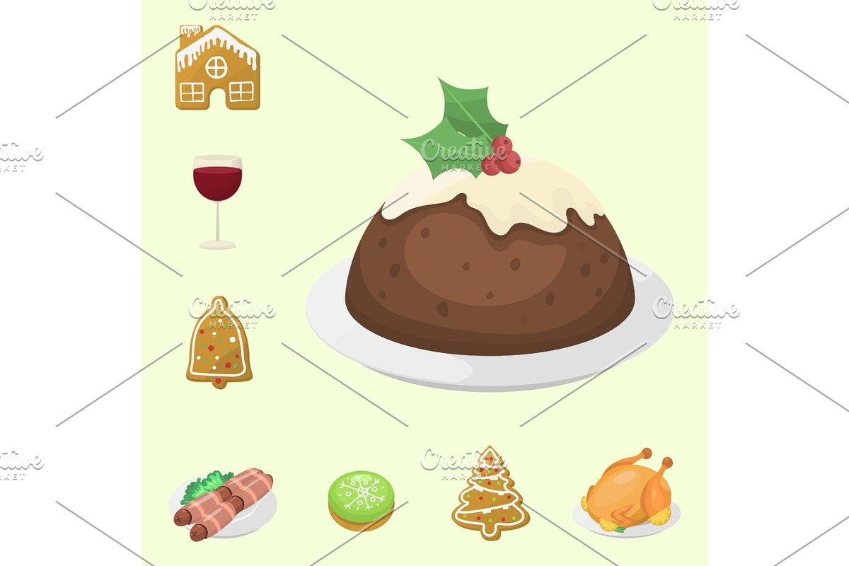 Traditional Christmas Food And Desserts Holiday Decoration Xmas