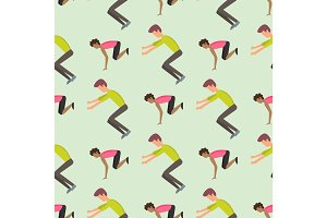 Fitness sport parkour people seamless pattern background person jumping extreme running danger gymnastics exercising vector illustration