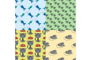 Cats mouse vector illustration cute animal funny seamless pattern background characters feline domestic trendy pet