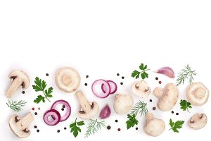 mushrooms with onion garlic parsley and peppercorns isolated on white background with copy space for your text. top view