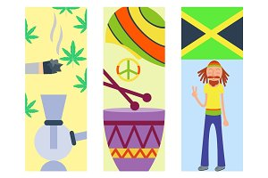 Rastafarian cannabis peace ganja icons set in flat style marijuana smoking equipment vector illustration
