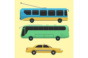 City transport public industry vector flat illustrations traffic vehicle street tourism modern business cityscape travel way.