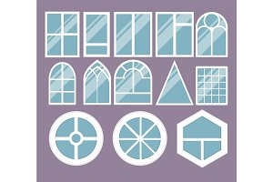 Different types house windows elements flat style glass frames construction decoration apartment vector illustration.