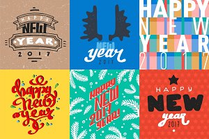 Vector 2017 Happy New Year background greeting holiday flayer brochure layout card design illustration