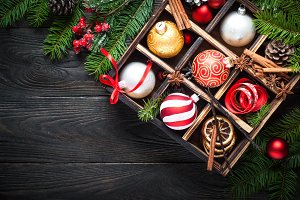 Сhristmas decorations background