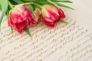 Tulips with handwritten love letter