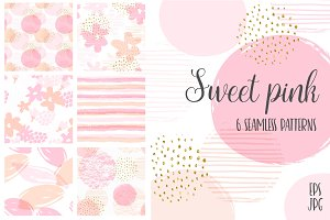 Sweet Pink. 6 seamless patterns.