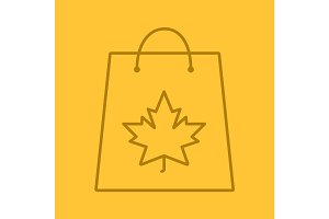 Autumn shopping linear icon