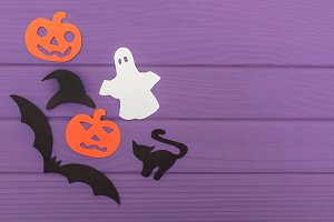 Halloween silhouettes cut out of paper made of corner frame