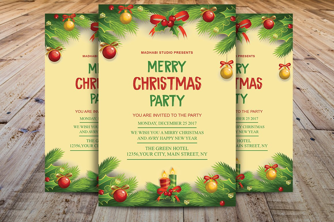 christmas invitation template flyer templates creative market. Black Bedroom Furniture Sets. Home Design Ideas