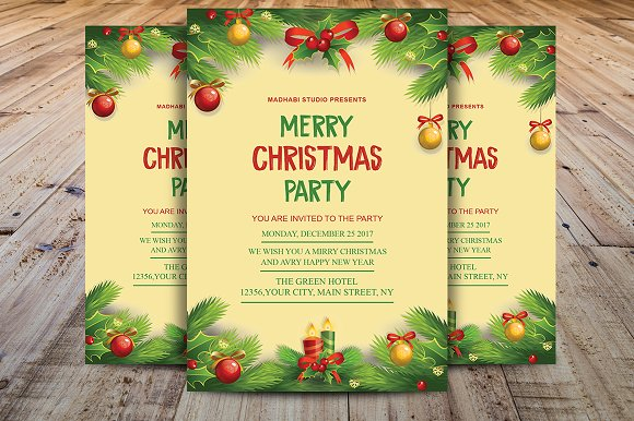 christmas invitation template flyer templates creative market