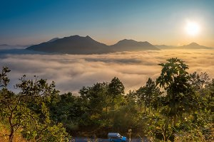 Misty Mountain with sunset