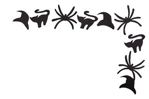 Silhouettes of black cats and spiders and hats carved out of black paper are isolated on white