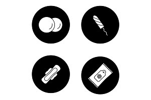 Toiletries glyph icons set