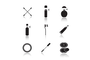 Cosmetics accessories drop shadow black glyph icons set