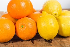 Group of lemons and oranges