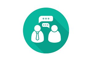 Business meeting flat design long shadow glyph icon