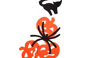 Silhouettes of orange pumpkins black cat and spider carved out of black paper are isolated on white