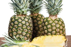 Pineapples with cut half