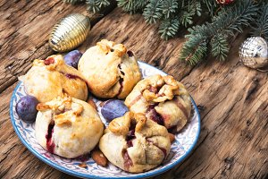 Christmas pastries with plum