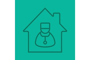 Doctor home visit linear icon