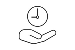 Open hand with clock linear icon