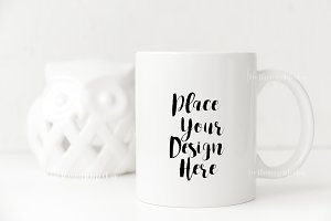 White Coffee mug mockup PSD smart