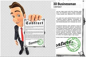 3D Businessman Signed Contract