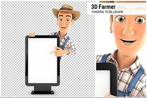 3D Farmer Pointing to Billboard