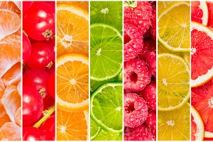 Collage of fresh fruit