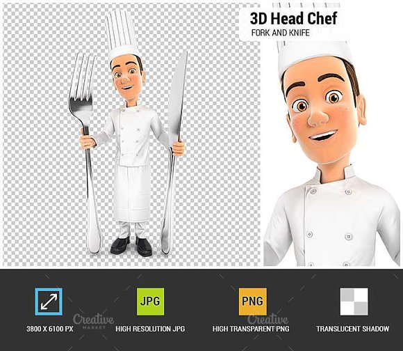 3D Head Chef With Fork And Knife