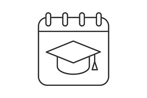 Graduation date linear icon