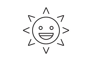 Laughing sun smile linear icon