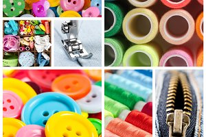 Collage of accessories for sewing