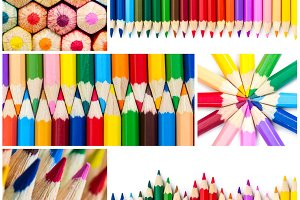 Collage of colored wooden pencils.
