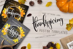 Thanksgiving posters with lettering