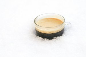 Hot coffee on ice