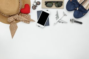 Top view items woman to travel.