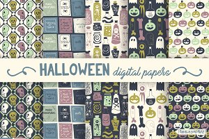 Halloween retro digital papers