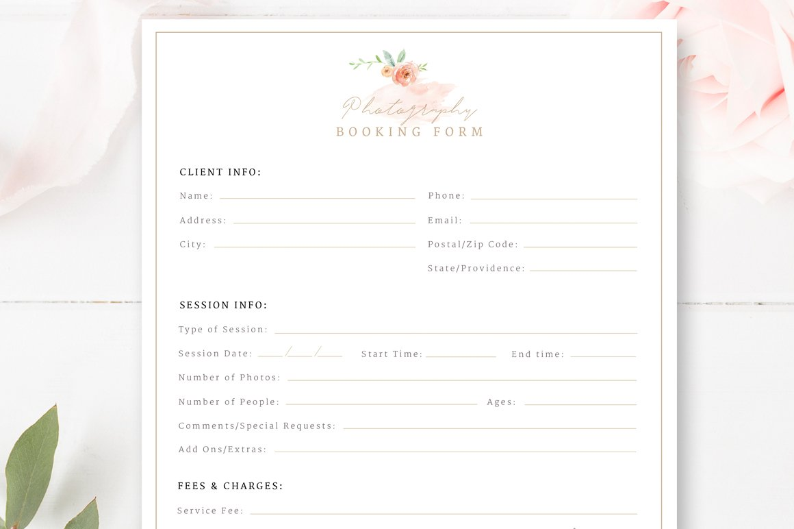Client booking form for photographer flyer templates creative market photography booking form falaconquin
