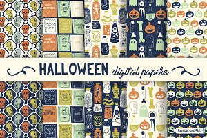 Halloween retro digital papers blue