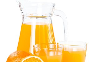 Orange juice in a glass jug