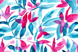 Watercolor floral/nature pattern