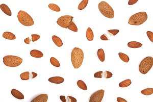 almonds isolated on white background. Flat lay pattern