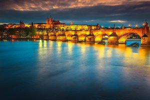 Prague cityscape by night