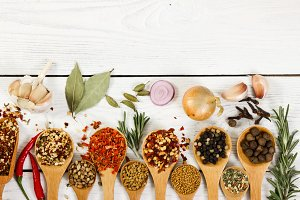 Different spices in wooden spoon