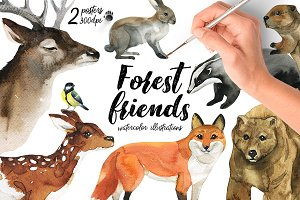 Forest Friends-watercolor animals