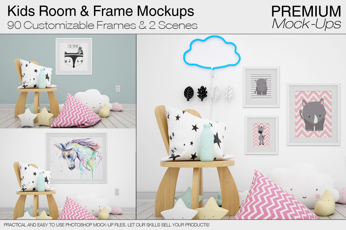 Frames Kids Room Mock Ups