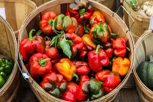 Basket with red peppers