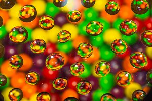 Candies and drops of water